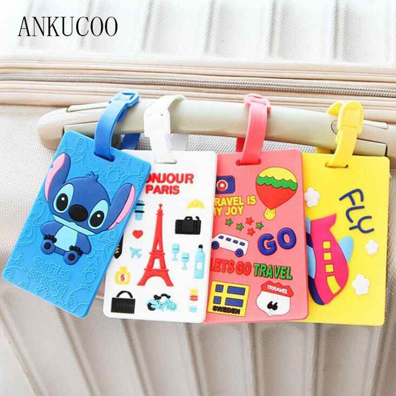 Travel Luggage Tags PU Leather Bag Tags Suitcase Baggage Label Handbag Tag With Full Back Privacy Cover Steel Loops American Flag Cat In Space Suit set of 4