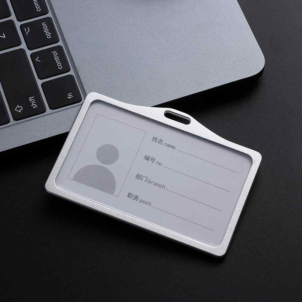 Aluminum Alloy Business Work Office Card ID Badge Lanyard Holder Protector Case